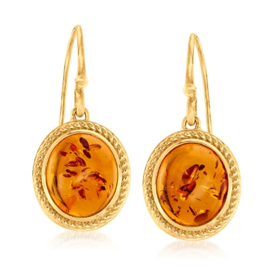 Amber Drop Earrings in 18kt Gold Over Sterling