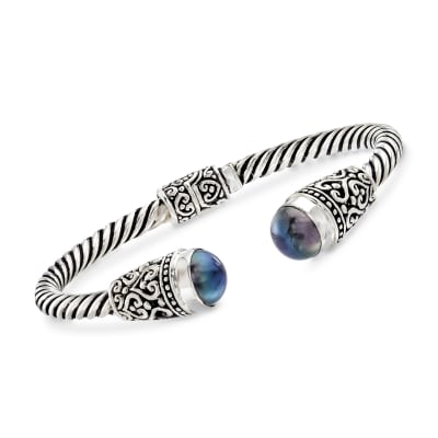Balinese 10-10.5mm Black Cultured Pearl Cuff Bracelet in Sterling Silver