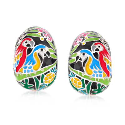 "Belle Etoile ""Macaw"" Multicolored Enamel J-Hoop Earrings with CZ Accents in Sterling Silver"