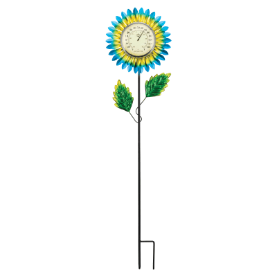 Regal Blue Daisy Thermometer Solar Garden Stake