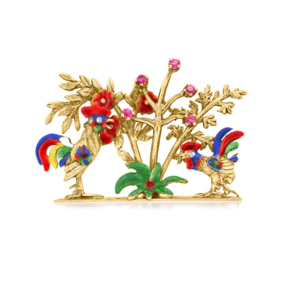C. 1970 Vintage .20 ct. t.w. Ruby Roosters and Trees Pin with Multicolored Enamel in 18kt Yellow Gold