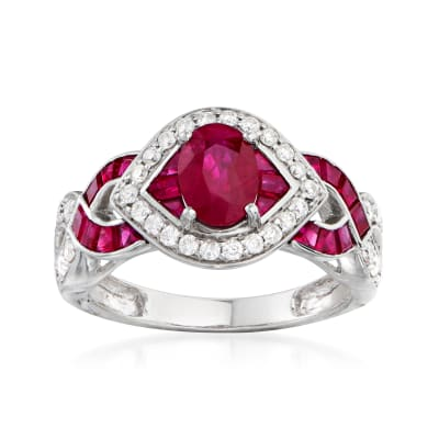 2.60 ct. t.w. Ruby and .34 ct. t.w. Diamond Ring in 14kt White Gold