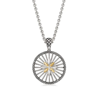 "Andrea Candela ""Radiante"" Sterling Silver and 18kt Yellow Gold Pendant Necklace"