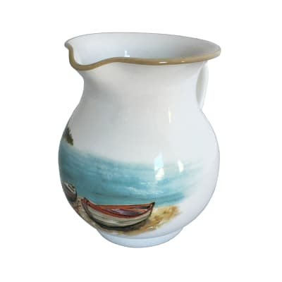 "Abbiamo Tutto ""A Day at the Lake"" Ceramic Pitcher from Italy"