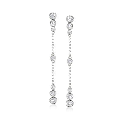 1.20 ct. t.w. CZ Drop Earrings in Sterling Silver