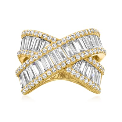 5.29 ct. t.w. CZ Highway Ring in 18kt Gold Over Sterling