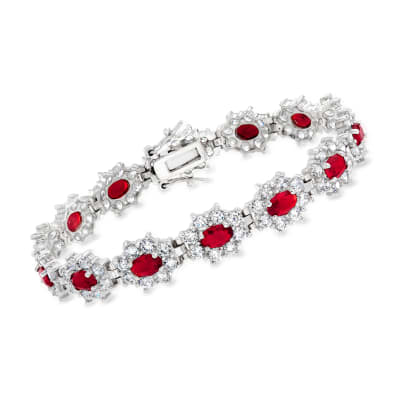 7.00 ct. t.w. Simulated Ruby and 6.00 ct. t.w. CZ Flower Bracelet in Sterling Silver