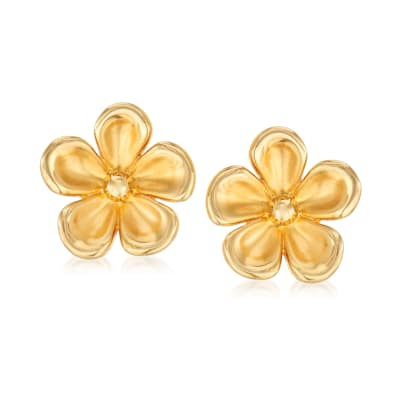 14kt Yellow Gold Concave Flower Stud Earrings