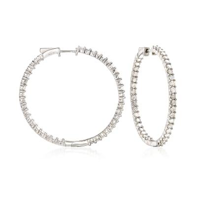 4.00 ct. t.w. Diamond Inside-Outside Hoop Earrings in Sterling Silver