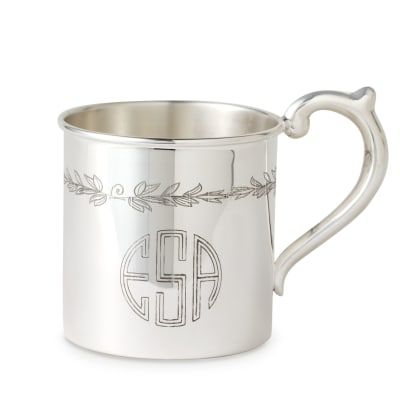 Cunill Baby's Sterling Silver Personalized Floral Etched Cup