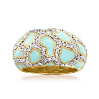 .40 ct. t.w. Diamond and Blue Enamel Animal-Print Ring in 18kt Gold Over Sterling