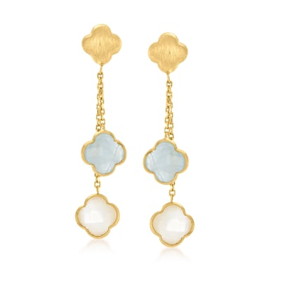 Italian Mother-Of-Pearl and 1.40 ct. t.w. Aquamarine Clover Drop Earrings in 14kt Yellow Gold