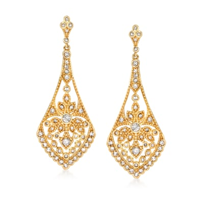 .75 ct. t.w. Diamond Openwork Drop Earrings in 14kt Yellow Gold