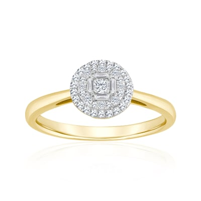 .25 ct. t.w. Baguette and Round Diamond Cluster Ring in 14kt Yellow Gold