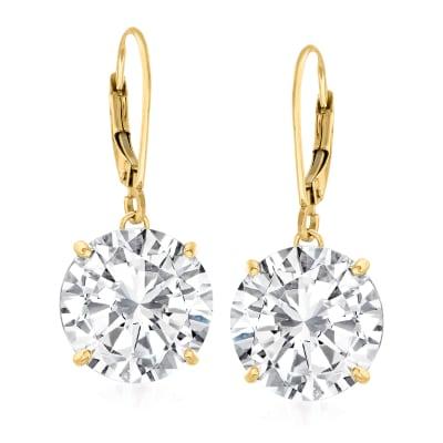 8.00 ct. t.w. CZ Drop Earrings in 14kt Yellow Gold
