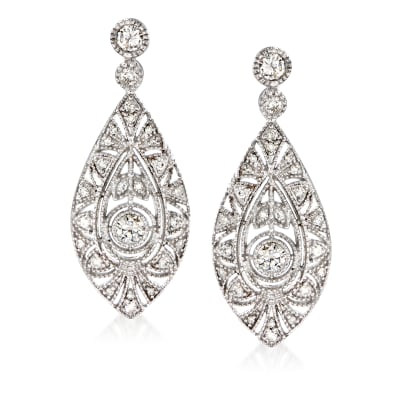 1.00 ct. t.w. Diamond Marquise-Shaped Drop Earrings in 14kt White Gold