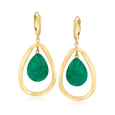 14.00 ct. t.w. Emerald Teardrop Earrings in 14kt Yellow Gold