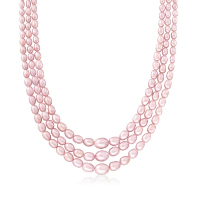 4-9mm Pink Cultured Pearl Layered Necklace with Sterling Silver