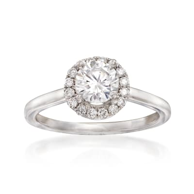 .20 ct. t.w. Diamond Halo Engagement Ring Setting in 14kt White Gold