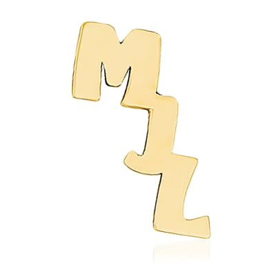 14kt Yellow Gold Polished Initial Cut-Out Personalized Tie Tac