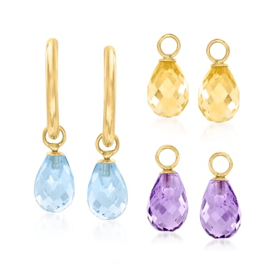 Interchangeable Jewelry Set: 8.00ct. t.w. Multi-Gemstone C-Hoop Drop Earrings in 14kt Yellow Gold