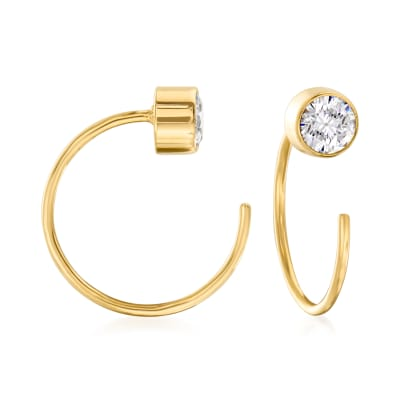 .40 ct. t.w. CZ C-Hoop Earrings in 14kt Yellow Gold