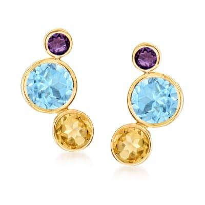 7.60 ct. t.w. Multi-Gemstone Earrings in 14kt Yellow Gold