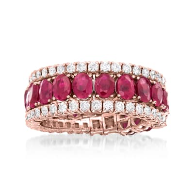 4.00 ct. t.w. Ruby and 1.13 ct. t.w. Diamond Wrap Ring in 18kt Rose Gold