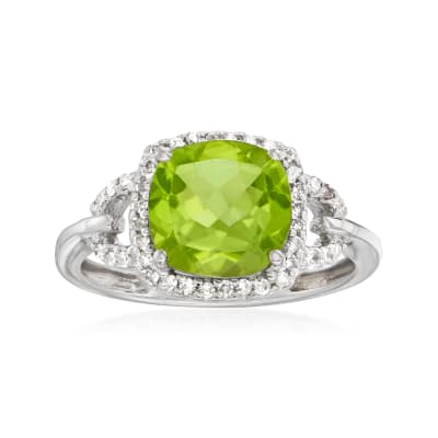 C. 1980 Vintage 2.35 Carat Peridot and .20 ct. t.w. Diamond Ring in 10kt White Gold