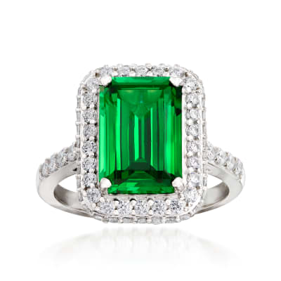 Emerald-Cut Simulated Emerald and .85 ct. t.w. CZ Ring in Sterling Silver