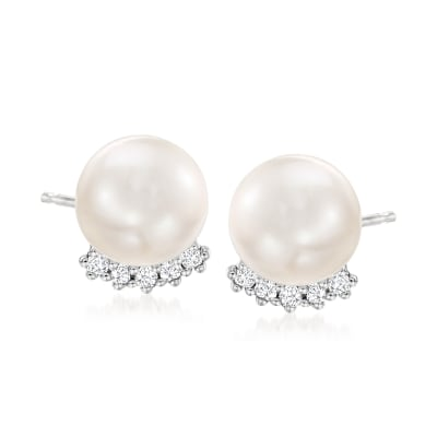 10mm Cultured Pearl and .20 ct. t.w. White Topaz Earrings in Sterling Silver