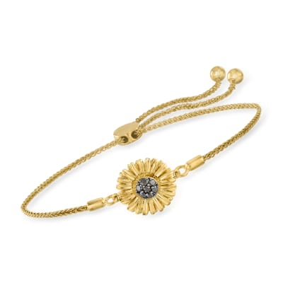 .15 ct. t.w. Black Diamond Sunflower Bolo Bracelet in 18kt Gold Over Sterling