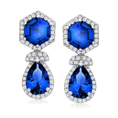 6.60 ct. t.w. Simulated Sapphire and .80 ct. t.w. CZ Drop Earrings in Sterling Silver