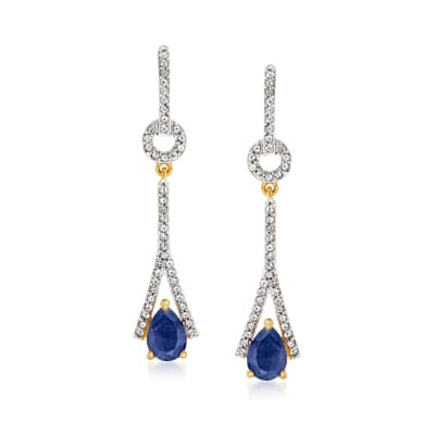 1.40 ct. t.w. Sapphire and .40 ct. t.w. White Topaz Drop Earrings in 18kt Gold Over Sterling