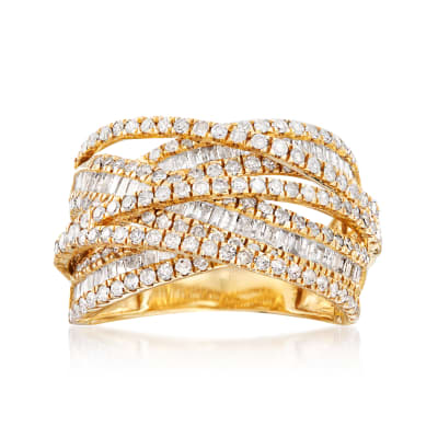 2.00 ct. t.w. Round and Baguette Diamond Highway Ring in 14kt Yellow Gold