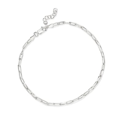 Italian Sterling Silver Paper Clip Link Anklet
