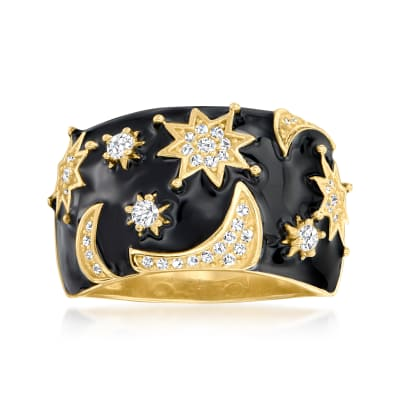.40 ct. t.w. White Topaz and Black Enamel Celestial Ring in 18kt Gold Over Sterling