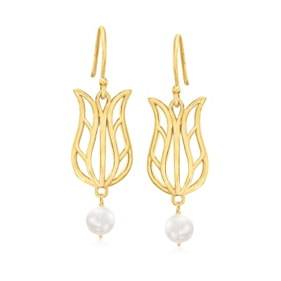 5-6mm Cultured Freshwater Pearl Flower Drop Earrings in 18kt Gold Over Sterling