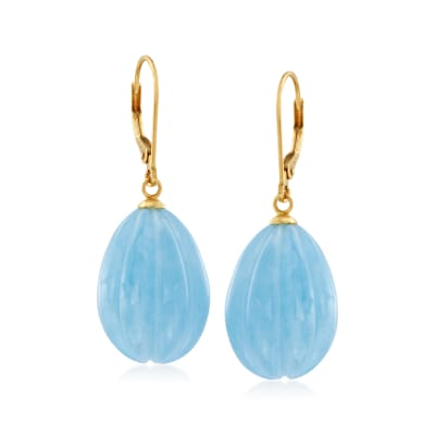 50.00 ct. t.w. Milky Aquamarine Drop Earrings in 14kt Yellow Gold