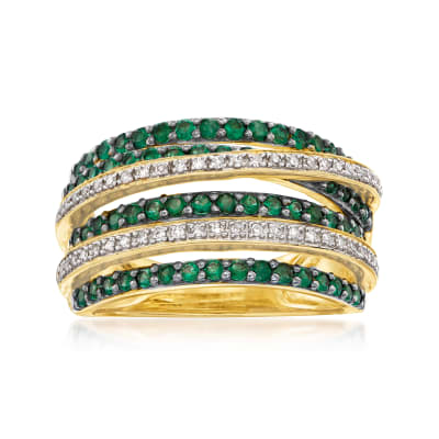.60 ct. t.w. Emerald and .15 ct. t.w. Diamond Highway Ring in 18kt Gold Over Sterling