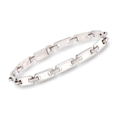 C. 2000 Vintage Cartier Link Bracelet in 18kt White Gold