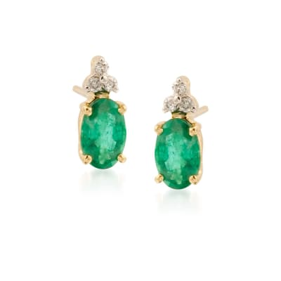 1.10 ct. t.w. Emerald Earrings with Diamond Accents in 14kt Yellow Gold