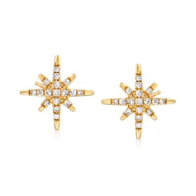 .25 ct. t.w. Diamond Star Earrings in 14kt Yellow Gold