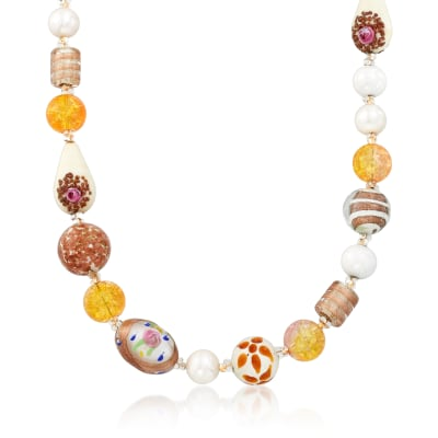 Italian 8-16mm Multicolored Murano Glass Bead Necklace with Sterling Silver