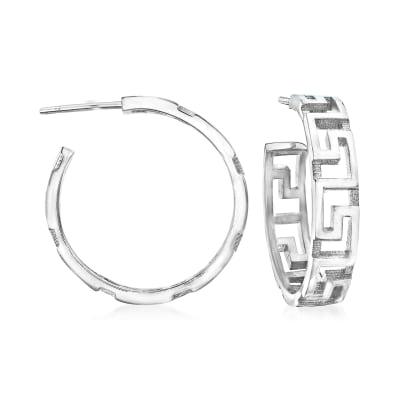 Italian Sterling Silver Greek Key Hoop Earrings