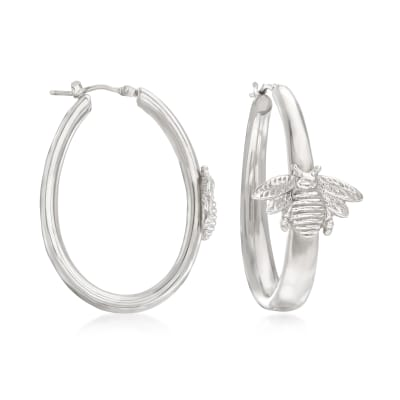 Italian Sterling Silver Bee Hoop Earrings