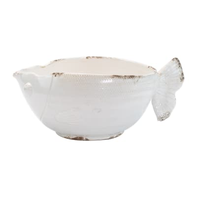 "Vietri ""Rustic Garden"" White Fish Cachepot from Italy"