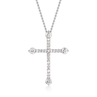 Roberto Coin .47 ct. t.w. Diamond Cross Pendant Necklace in 18kt White Gold