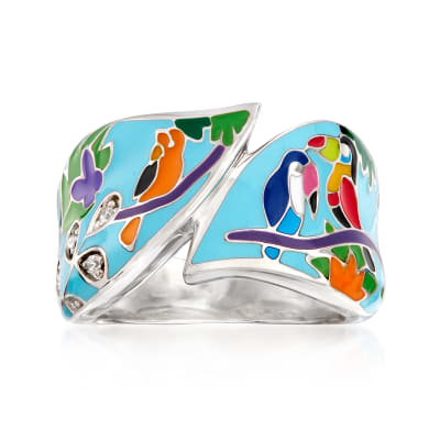 "Belle Etoile ""Tropical Rainforest"" Blue and Multicolored Enamel Ring with CZ Accents in Sterling Silver"