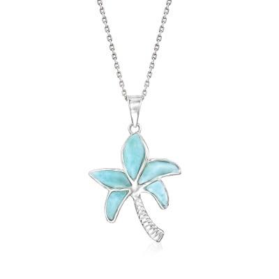 Larimar Palm Tree Pendant Necklace in Sterling Silver